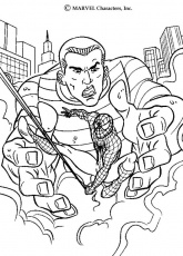 Coloriage Spiderman - Le gigantesque homme de sable