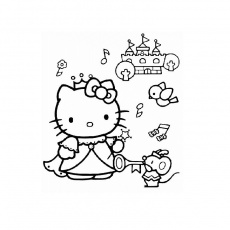 Coloriage Hello Kitty Princesse a Imprimer Gratuit