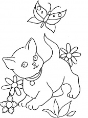 dessin de bébé chaton avec i love you Coloriage