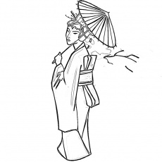 Coloriage Japonaise En Costume Traditionnel a Imprimer Gratuit