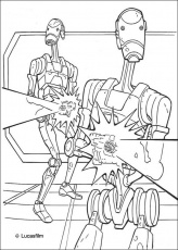 Coloriage STAR WARS - Coloriage STAR WARS des Droides de combat de
