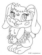 Coloriages de Lapins - Coloriage d'une LAPINE Kawaii