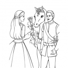 Coloriage du poney et de la princesse