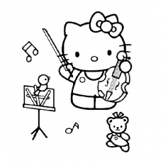 Coloriage Hello Kitty Rock a Imprimer Gratuit