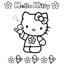 Coloriage Hello Kitty Facile a Imprimer Gratuit