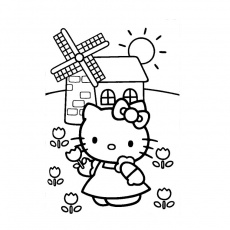 Coloriage Fille Hello Kitty a Imprimer Gratuit