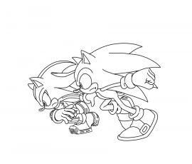 sonic shadow silver Coloriage