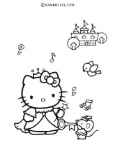 Coloriage HELLO KITTY - Coloriage de Hello Kitty en danseuse
