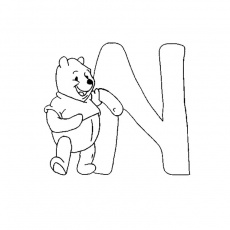 Coloriage Winnie l'Ourson Alphabet a Imprimer Gratuit