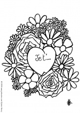 coloriage coeur i love you