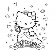 Coloriage Hello Kitty en Princesse a Imprimer Gratuit