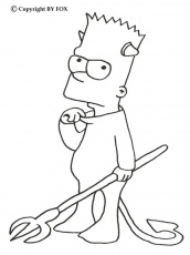 Coloriage BART SIMPSON - Coloriage de Bart le petit diable