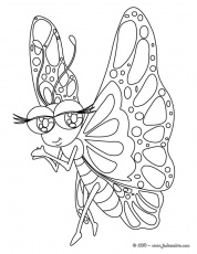 Coloriages de papillons - Papillon Kawaii